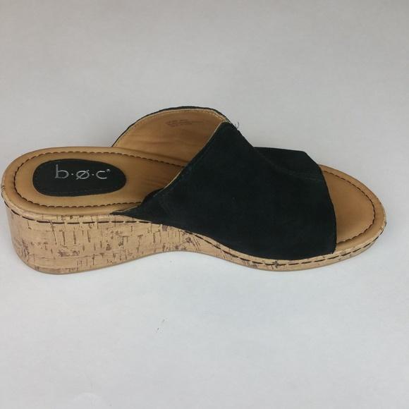 833a440f8219 b.o.c. Shoes - b. o. c. Black Suede Cork Wedge Slides 8 VGUC